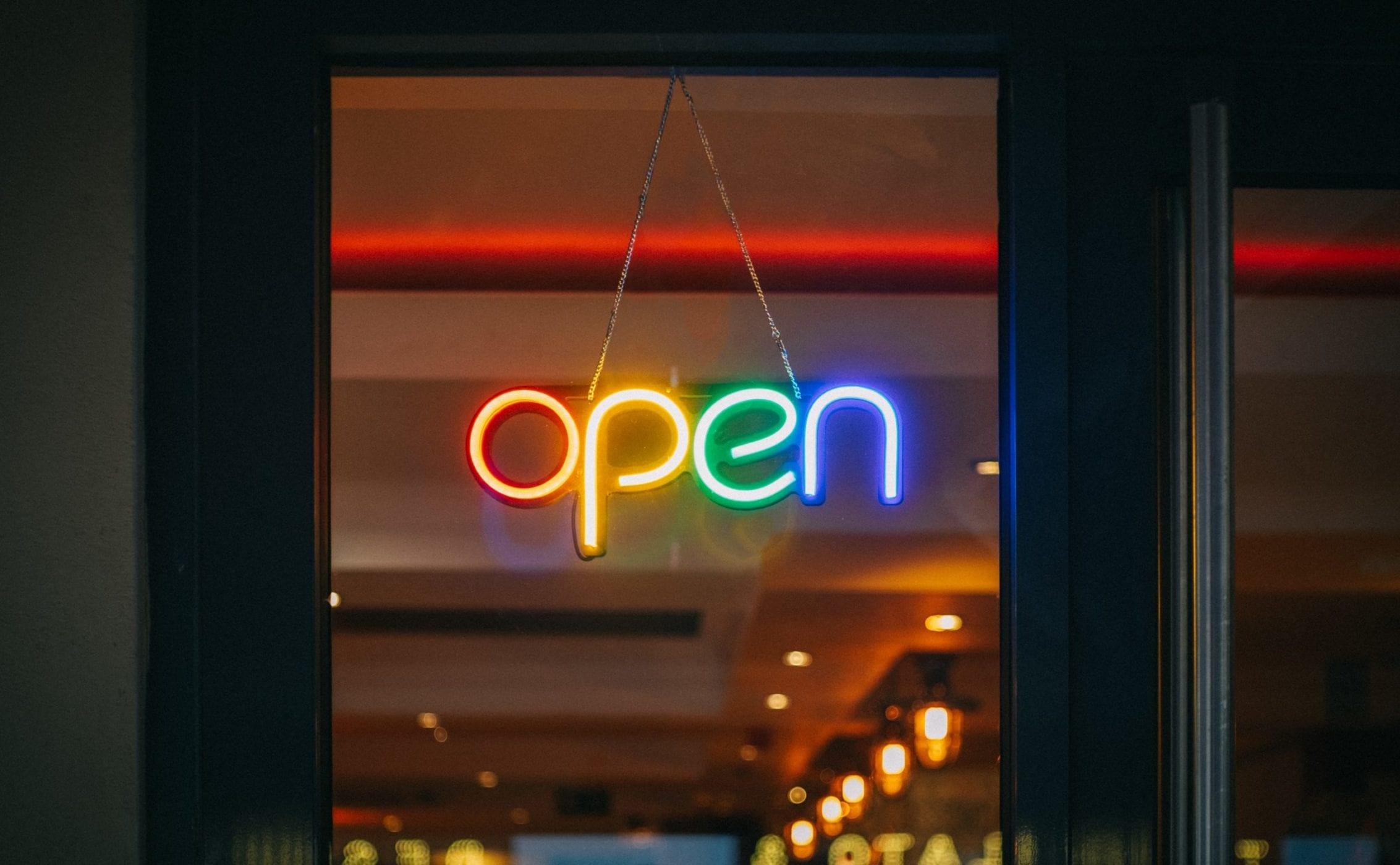 open sign open door